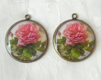 2 Pcs Antique Brass  Rose  Flower Glossy Charm,NICKEL FREE
