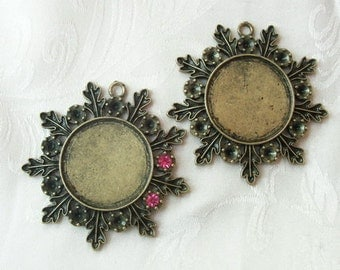 2 Pcs Antique Brass Plated Cabochon Pendant Base 48 mm,Nickel Free