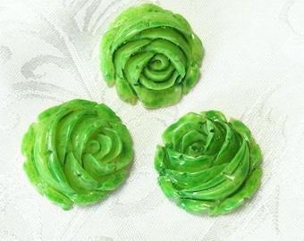 10  pcs rose cabochon 23 mm,Green