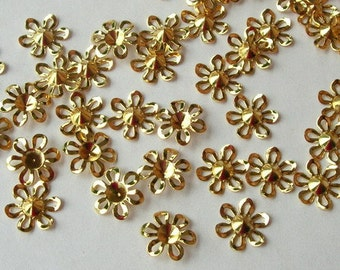 24  Pcs Gold Plated Bead Cap, 12 mm
