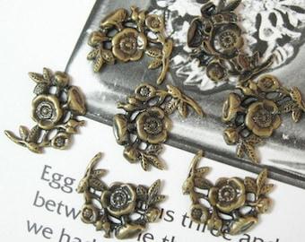 24  Pcs  Antique Brass Flower Filigree, NICKEL FREE