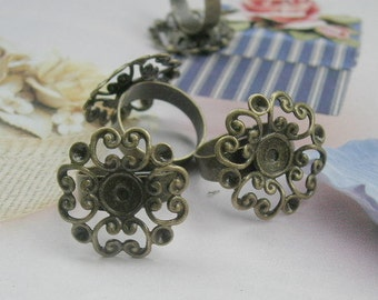 6pcs Adjustable Antique Bronze  Ring W/24mm Filigree,.NICKEL FREE