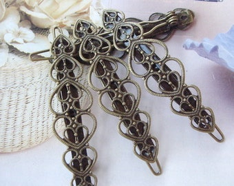 4 Pcs Antique Brass Plated Hair Clip 14 x 54 mm Filigree,Nickel Free