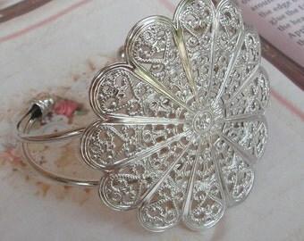 2 Pcs Silver Plated Large Filigree Cuff - Bracelet.Nickel Free