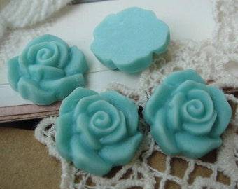 15Pcs Beautiful Rose Cabochon,Teal