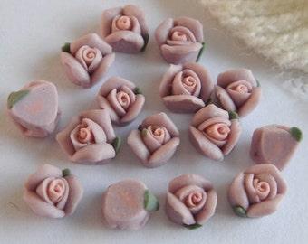 15pcs Rose Ceramic 6mm  Purple/Pink Centre(FCN-04R)