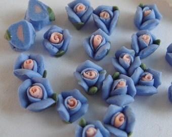 15  pcs Rose Ceramic 6mm  Blue ,/Pink Centre(FCN-05R)