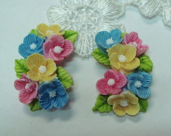 4 Pcs Beautiful  Flowers Cabochon Colourful,-Hand Painted  (CHBF-02)