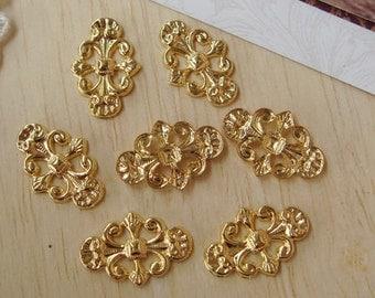 10pcs Gold Plated Filigree Charms,11x17mm