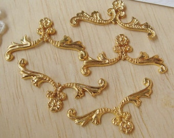 5 pcs Gold Plated  Classical  Filigree Charms,14x30mm