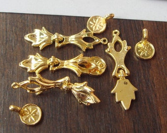 4 Sets Gold Plated  Classical Buckle Filigree Charms,19x28mm
