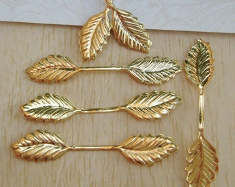 15pcs Raw Brass Leaves Filigree Charms,11x34mm