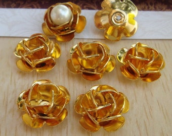 8 pcs Gold Plated Rose Filigree Charms,11mm