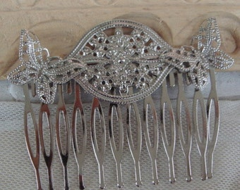 3Pcs Silver Plated Butterfly  Hair Comb w/12 Pins.(CH-B01)