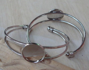 LAST: 2pcs Silver Plated Cuff-Bracelet w /20mm Setting.Nickel Free.