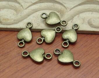 10Pcs  Antiqued Vintage Bronze Heart-Shaped Charms / Pendant