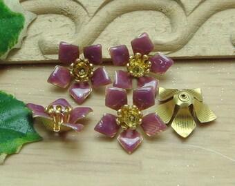 10 pcs Raw Brass Finding Resin Glossy, Purple (120226)