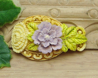 2 Pcs Big Beautiful  Peony Cabochon Colourful-Hand Painted(FB1212)