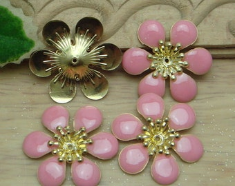 6 pcs Raw Brass Finding Resin Glossy, Pink  Rose  ( 01202)