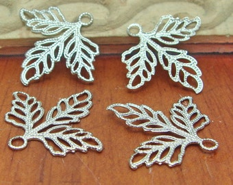 10%off: 100 Pcs Silver Plated Leaves Charm,Nickel Free 23x25mm