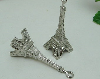 10% off: 24pcs  Big 3D Silver Plated  Eiffel Tower Pendant / Charms
