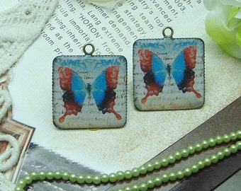 4 pcs (25x25 mm ) Handmade Resin Pendants with Antique Bronze Pendant Setting(H151502)
