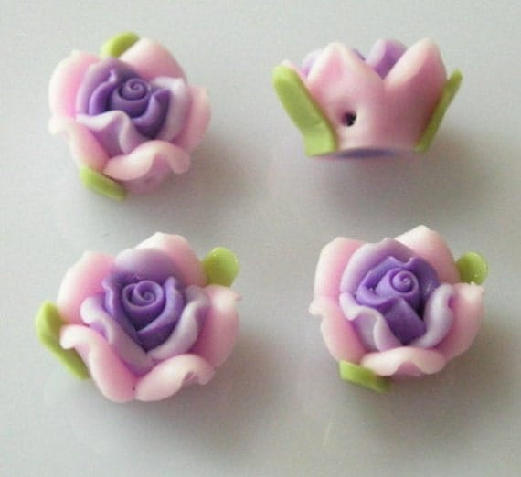 8 pcs -10mm  Beautiful Fimo Rose Flower, Pink w/ Purple Centre