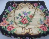 Vintage Tapestry Evening Bag, Chain Handle, Pretty Floral Design