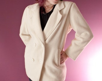 Herman Kay Vintage Soft Wool Coat in White Size 10 Size 12