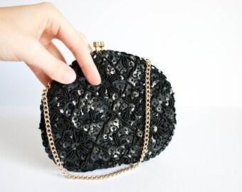 Black Sequined Beaded Evening Bag Formal