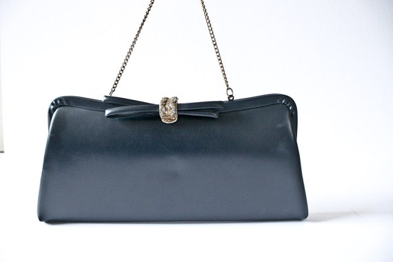 Faux Leather Clutch Navy Blue with Bow Gold Clasp and Chain