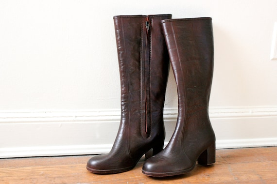 Faux Leather Lined Rubber Rain Boots Dark Brown Heeled Womens 7