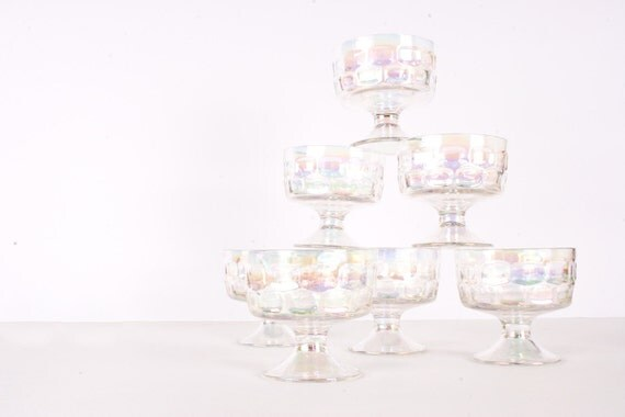 Dessert Sundae Gelato Dishes in Iridescent Glass Set of 7