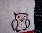 Owl Always Love You -- Embroidered owl Zippered Coin/ Camera/ IPhone pouch VALENTINE'S DAY SPECIAL