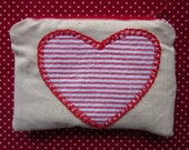 Love is all you need - Appliqued Heart Small Zippered Coin / Camera / IPhone pouch
