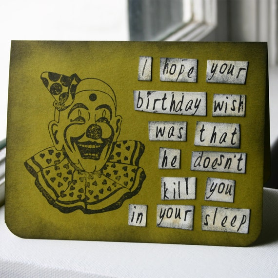 Scary Clown Birthday Card - Green