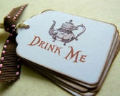 Drink Me Tags Labels - Alice in Wonderland Tea Party - Wedding Favors - Vintage Tea Pot