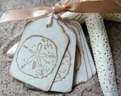 Sand Dollar Gift Tags - Beach Wedding Favors, Shower Favors - Vintage Seashell Tags