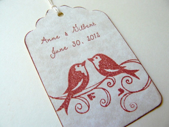 Custom Wedding Gift Tags, Favors - Lovebirds Love Birds - Name and Date