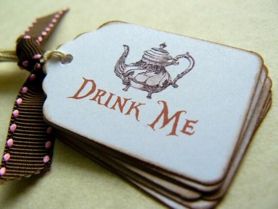 Drink Me Tags Labels - Alice in Wonderland Tea Party - Wedding Favors - Vintage Tea Pot