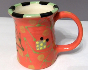 Whimsical Red Frog Pottery Mug