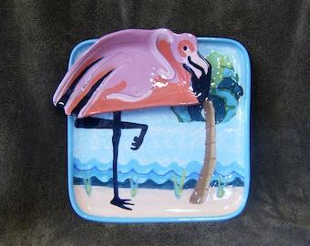 Flamingo Chip and Dip PotteryTray