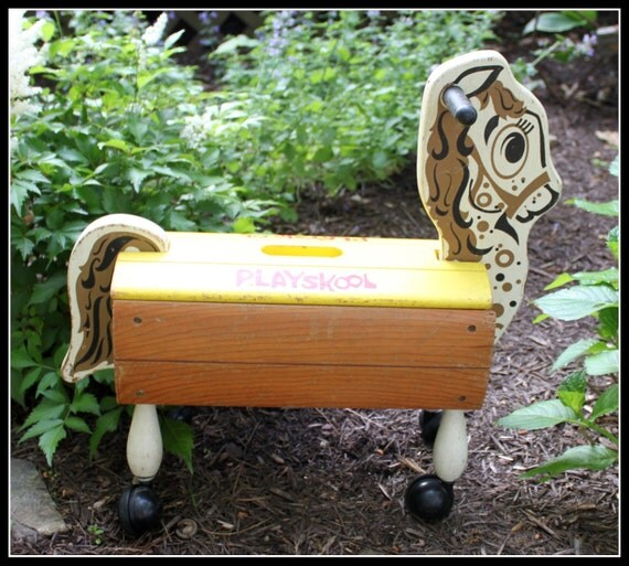 Vintage Playskool Wooden Ride On Horse With Wheels