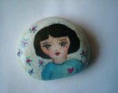 "A hand painted stone "" i miss you"""