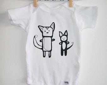 onesie bodysuit with screenprinted dog cat in black