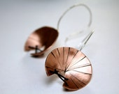 Stitched Satellites-Round Curved Copper Disk Earrings-Sterling Silver Wire Hooks -Modern-Unique-Bohemian-Rustic-Rock