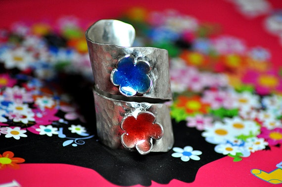 Tropical Sterling Silver Wide Wrap Ring-Red & Blue Painted Flowers-Hammered- Adjustable-Vintage Inspired-Colorful-Feminine