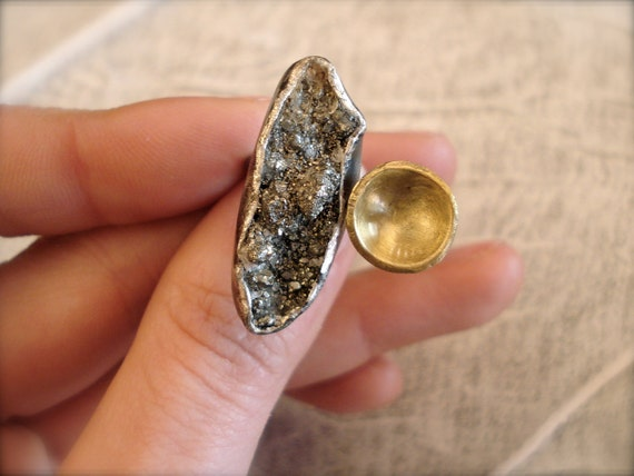 RESERVED for Pnutylah/ OOAK Raw Pyrite Sterling Silver Ring with curved brass disk-Modern-Unique-Oxidized-Chic-Rustic