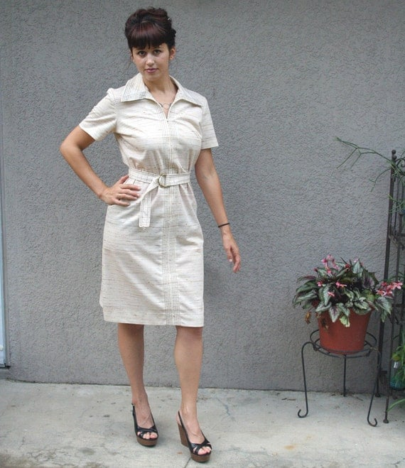 Vintage Collared Polyester Happenings Day Dress with Belt