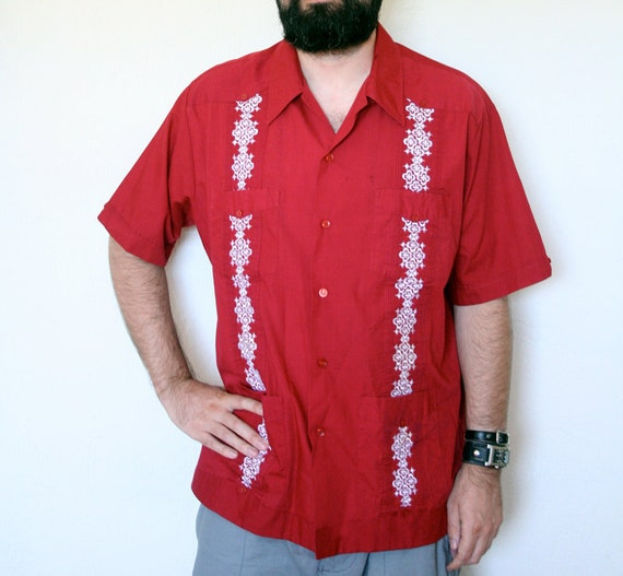Men's XL Red Guayabera Shirt by Haband of Paterson